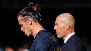 Bale y Zidane, en Balaídos durante el Celta-Madrid.