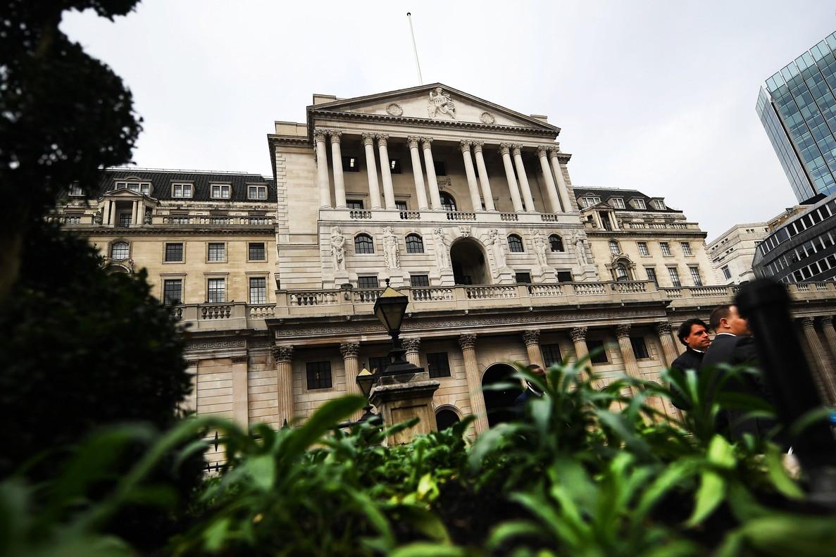 Vista de la fachada del Banco de Inglaterra en Londres.