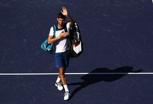 Novak Djokovic, en el momento de su despedida de Indian Wells.