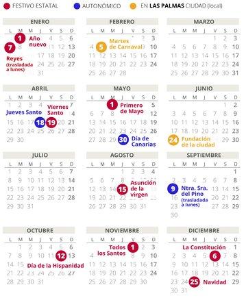 Calendario Escolar 2020 Las Palmas.Calendario Laboral