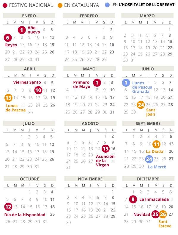 Calendario laboral de L'Hospitalet de Llobregat del 2020.