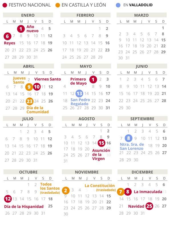Calendario laboral de Valladolid del 2020.