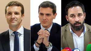 Pablo Casado (PP), Albert Rivera (Ciudadanos) y Santiago Abascal (Vox).