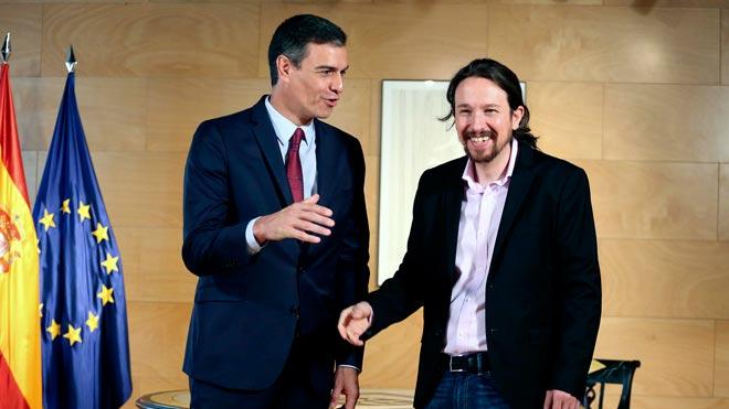 Comienza la reunión entre Pedro Sánchez y Pablo Iglesias.