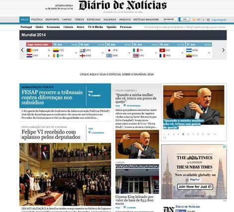 Capçalera Diário Noticias es fa ressò de la coronació de Felip VI.