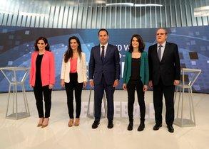 Los candidatos a la Presidencia de la Comunidad de Madrid,Isabel Díaz Ayuso (PP), Rocío Monasterio (Vox), Ignacio Aguado (Ciudadanos), Isabel Serra (Podemos) y Ángel Gabilondo (PSOE), en el debate organizado por Telemadrid.