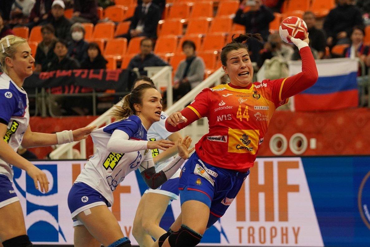 Ainhoa Hernández, durante el partido que España perdió ante Rusia.