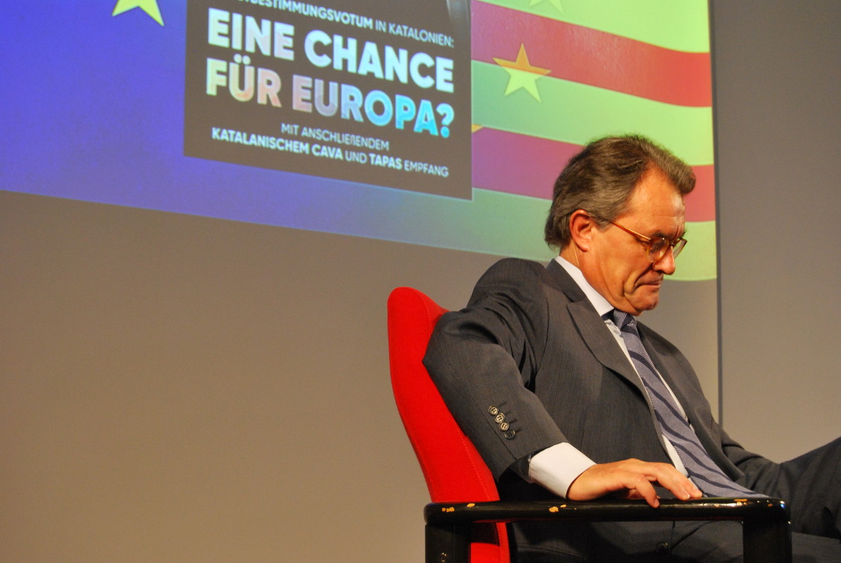 El expresidente de la Generalitat Artur Mas, durante su charla en Berlín, este martes, 27 de junio.