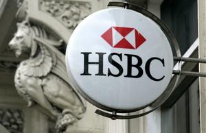 Logotipo del banco suizo HSBC en Kings Heath, Birmingham (Reino Unido).