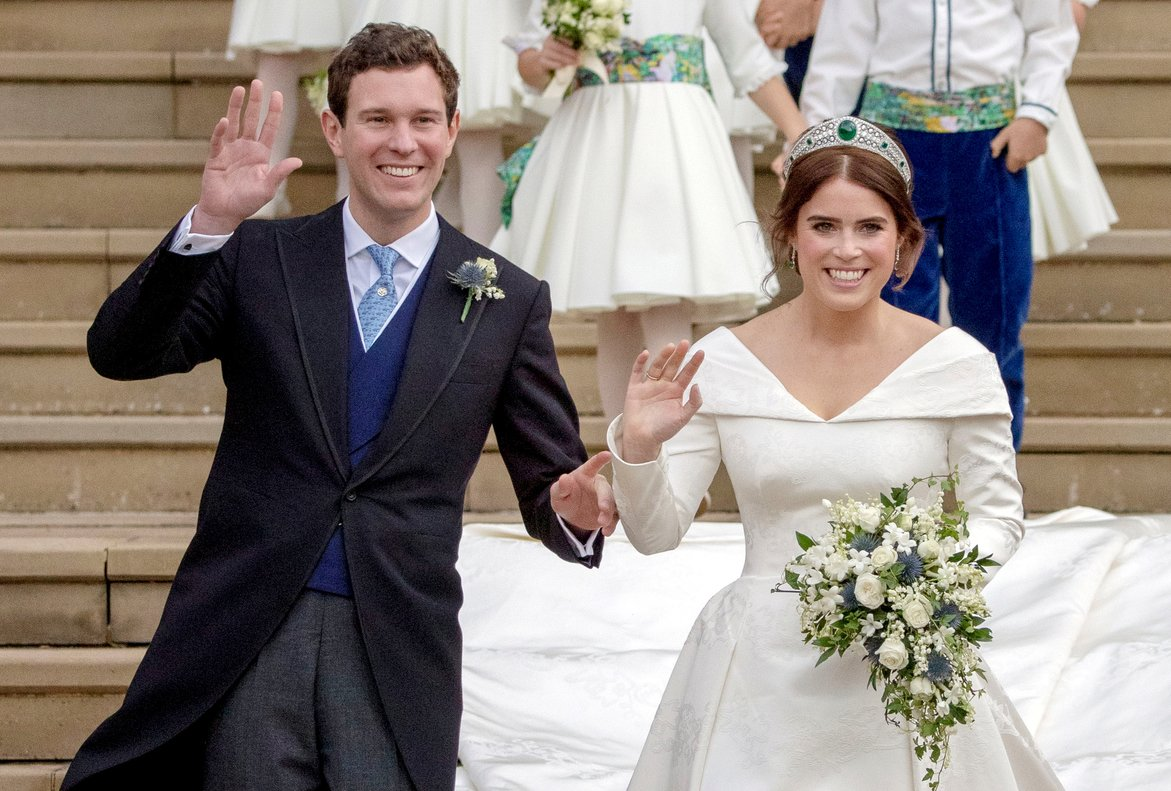 FILE PHOTO: Princess Eugenie and Jack Brooksbank leave St George's Chapel in Windsor Castle following their wedding, in Windsor, Britain October 12, 2018. Steve Parsons/Pool via REUTERS/File Photo