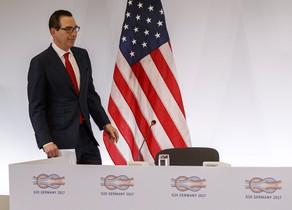 El secretario del Tesoro de EEUU, Steven Mnuchin, en la conferencia del G20.