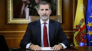 Imagen del mensaje televisado del Rey Felipe VI el 3 de octubre, tras la celebración del referéndum independentista en Catalunya.