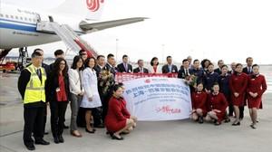 Inauguración del vuelo de Air China entre Shanghái y Barcelona.