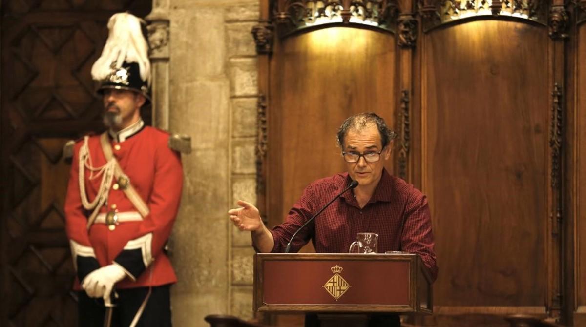 Javier Pérez Andújar, durante la lectura del pregón en el Saló de Cent del Ayuntamiento de Barcelona, en el 2016.