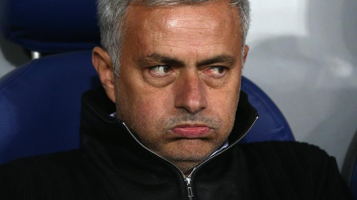 José Mourinho, en un partido delManchester United.