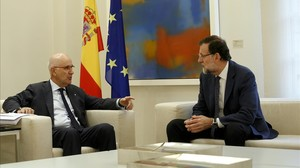 El líder de Unió, Josep Antoni Duran Lleida, durante su encuentro con el presidente del Gobierno, Mariano Rajoy, el 3 de noviembre en la Moncloa.
