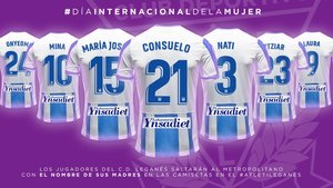 Las camisetas con los nombres de las madres de los futbolistas del Leganés.