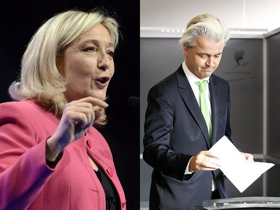 Marine Le Pen, líder del Front National (FN), y Geert Wilders, líder del Partij Voor de Vrijheid (PVV).