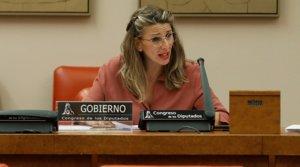 La ministra de Trabajo y Economía Social, Yolanda Díaz, en una comparecencia en el Congreso de los Diputados.