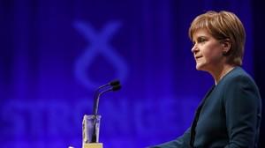Nicola Sturgeon habla en la conferencia del SNP.