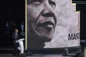 Obama, durante la conferencia sobre Mandela en Johannesburgo.