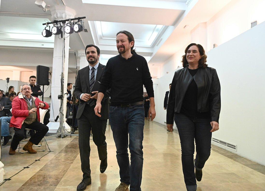 El vicepresidente segundo del Gobierno y secretario general de Podemos, Pablo Iglesias, este sábado en Madrid en un acto con las confluencias de Unidas Podemos.