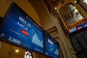 Panel de la Bolsa de Madrid, con la evolución del Ibex 35.