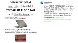 Anuncio pidiendo ayuda para recuperar su ordenadorque ha colgado en las redes sociales Laura Villar.