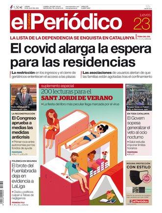 La portada de EL PERIÓDICO del 23 de julio del 2020