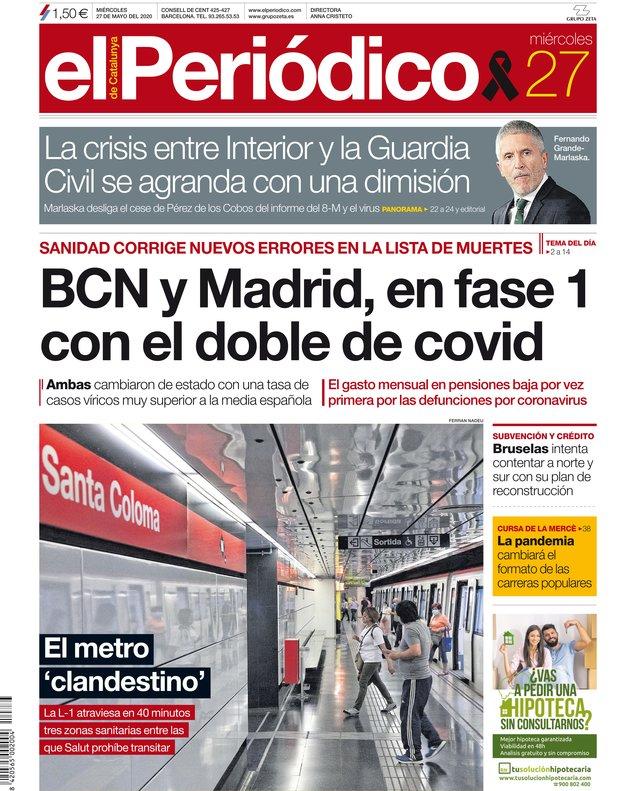 La portada de EL PERIÓDICO del 27 de mayo del 2020