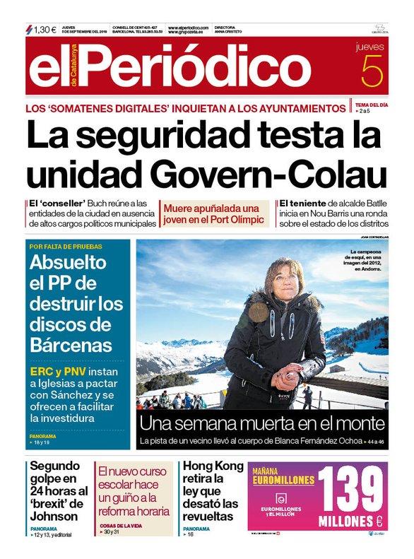 La portada de EL PERIÓDICO del 5 de septiembre del 2019.