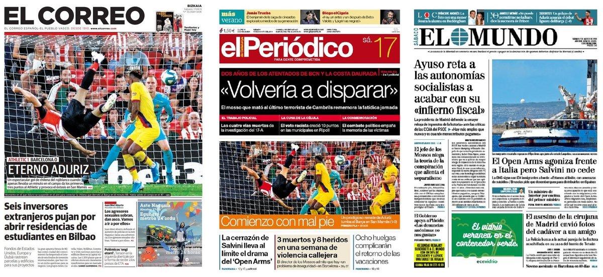Prensa de hoy: Las portadas de los periódicos del sábado 17 de agosto del 2019