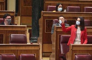 La presidenta de Ciudadanos, Inés Arrimadas, durante la sesión de control al Gobierno en el Congresode este 9 de septiembre.