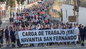 Protesta de trabajadores de Navantia, el pasado septiembre.