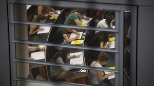 Examen de selectividad en la Universitat Pompeu Fabra, el pasado martes.