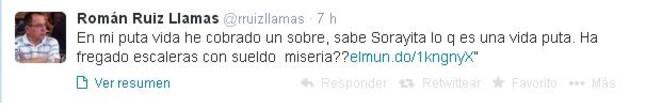 Imagen del mensaje de la disputa en el que Ruiz responde a Sáenz de Santamaría.