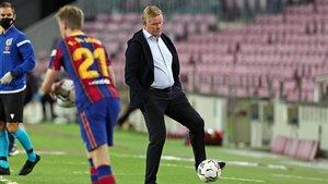 Ronald Koeman, en el partido frente al Sevilla en el Camp Nou,