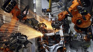 Treballs robotitzats de soldadura a la fàbrica de Seat a Martorell. ARXIU