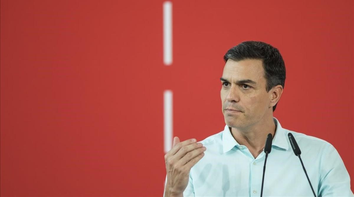Pedro Sánchez durante el Congreso de los socialistas valencianos, en julio.