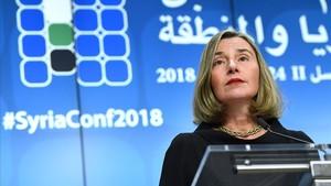 Mogherini, en la cumbre de donantes para Siria de Bruselas.