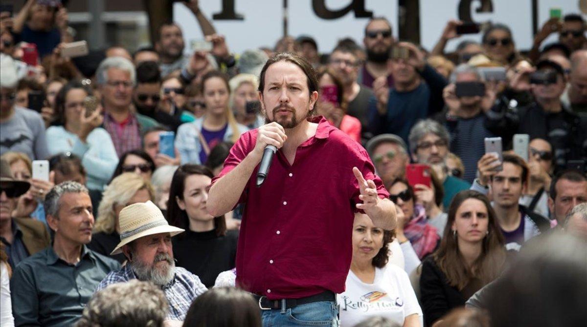 El candidato a la presidencia del Gobierno por Unidas Podemos, Pablo Iglesias, en un acto celebrado este lunes en Palma