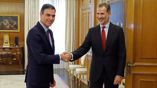 El rey Felipe VI recibe a Pedro Sánchez, el pasado 6 de junio, en la primera ronda para designar candidato a la investidura.