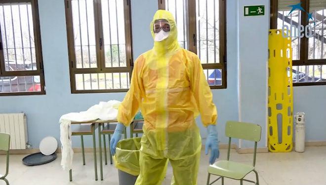 Un secuencia de un vídeo formativo sobre el coronavirus.
