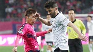 Villa, en su debut oficial en la Liga japonesa frente al Cerezo en Osaka.