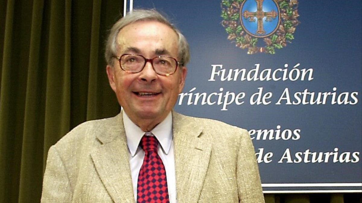 George Steiner, en el 2001, cuando recibió el Premio Príncipe de Asturias de Comunicación y Humanidades.
