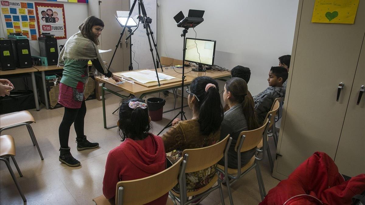 Una clase en el Institut Trinitat Nova en abril del 2018.