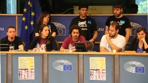 Miembros del grupo de apoyo a Valtònyc en el Parlamento Europeo.