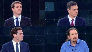 Pablo Casado, Pedro Sánchez, Albert Rivera y Pablo Iglesias, durante el debate de RTVE