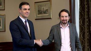 Sánchez e Iglesias, antes de la firma del preacuerdo.