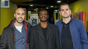 El director de fotografía, Josep Gutiérrez, Juan Tomás Ávila y Marc Serena.